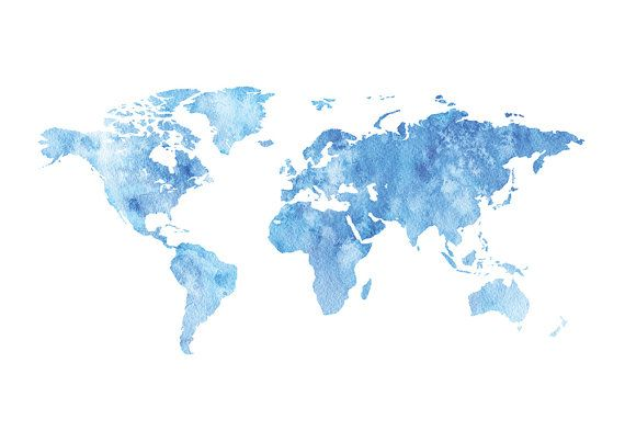 World Map Wall Art Watercolor World Map Printable by PxlNest.