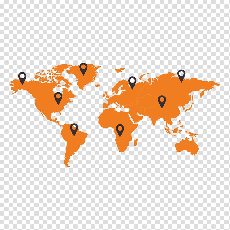 World map Globe Icon, Orange World Map transparent background PNG.
