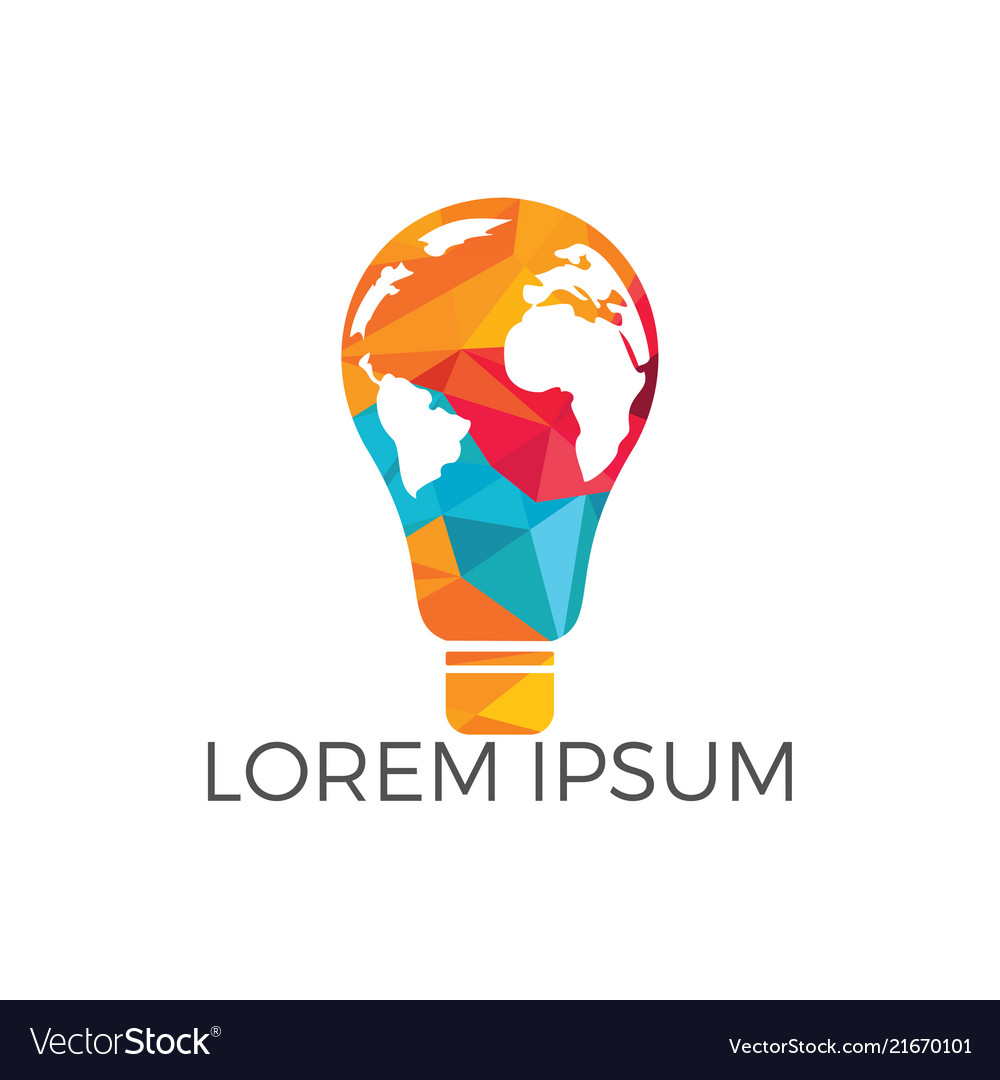 Light bulb with world map logo design.