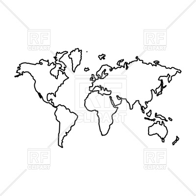 World Map Outline Clipart.