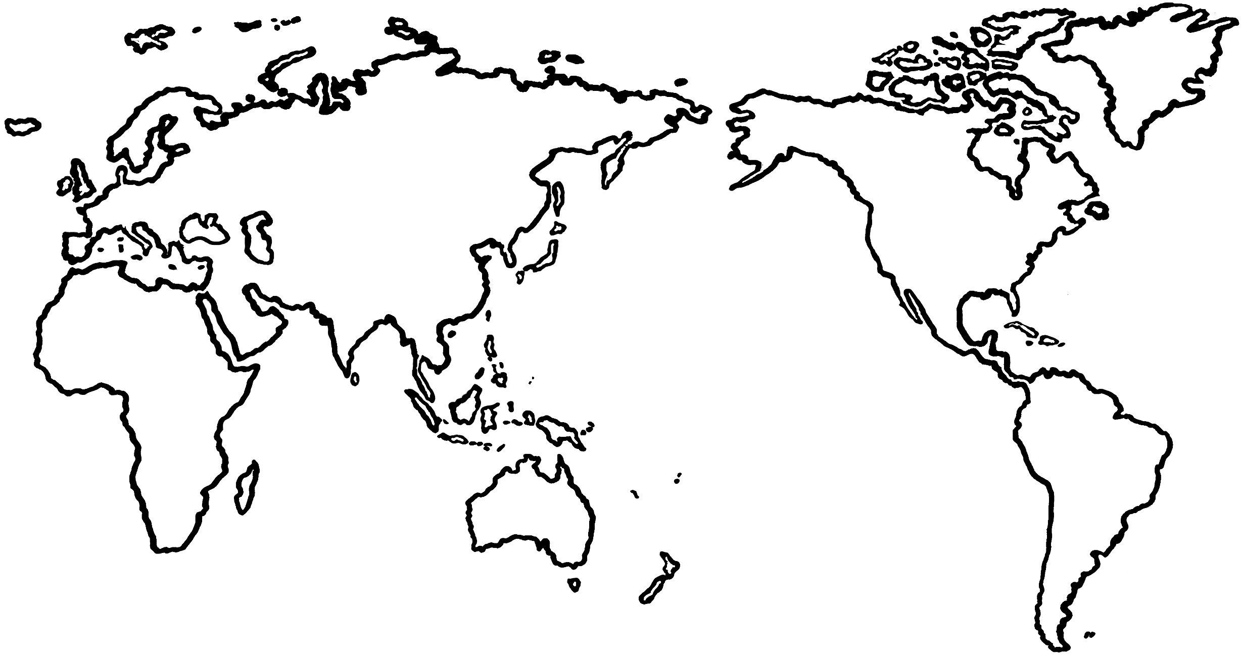 World Map Black Silhouette.