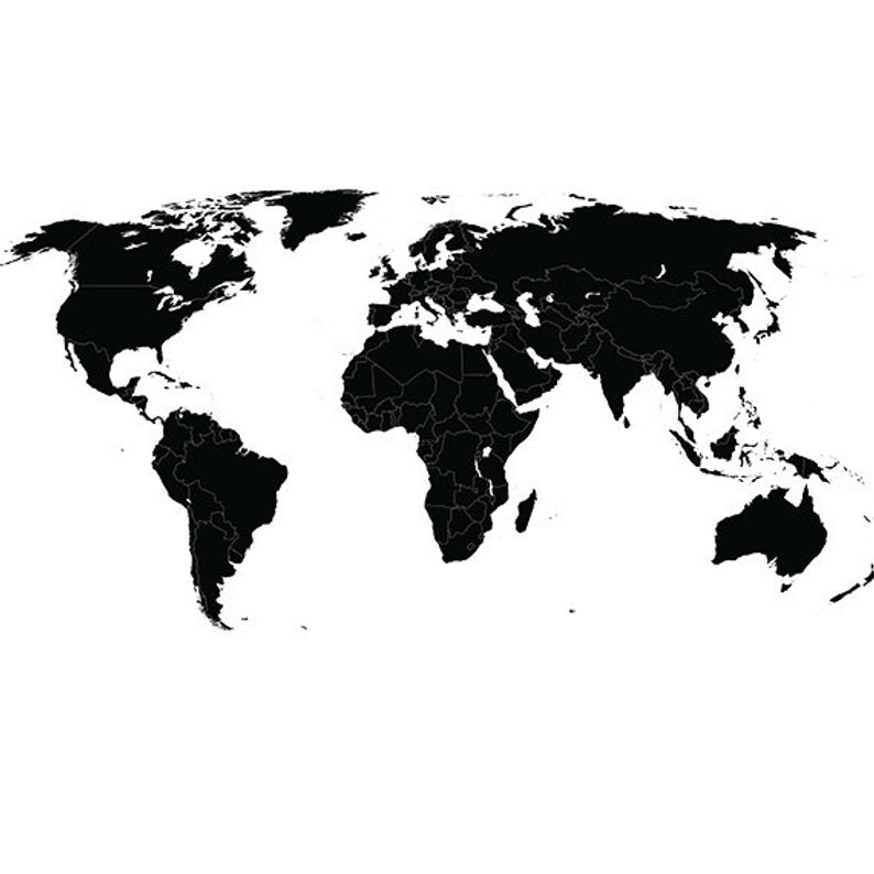 World map svg clipart silhouette.