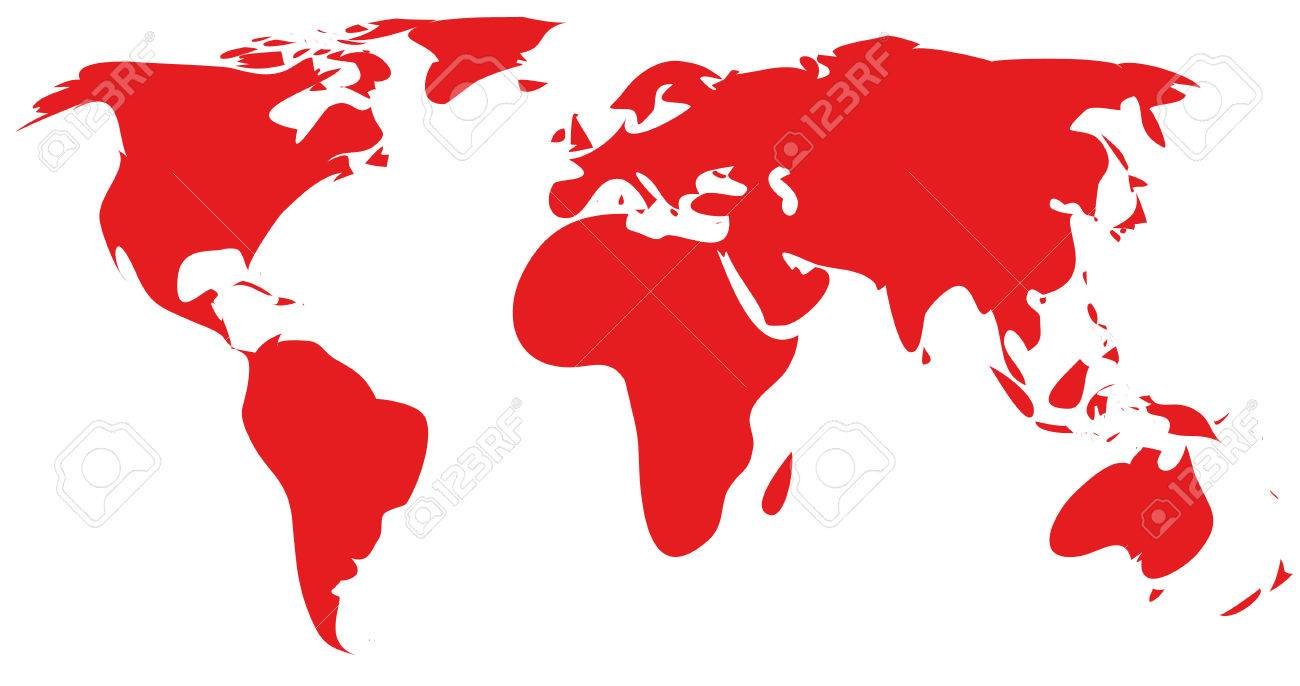 red world map silhouette.