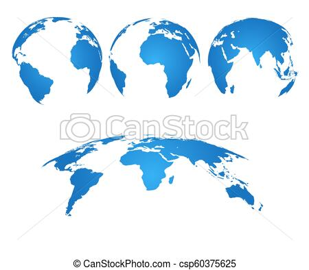 Earth globe. 3d world map with silhouette continents and oceans. Vector  isolated set.