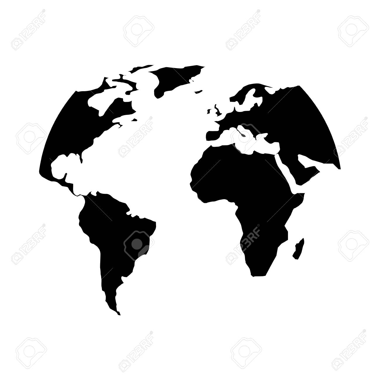 silhouette world map location planet vector illustration black...