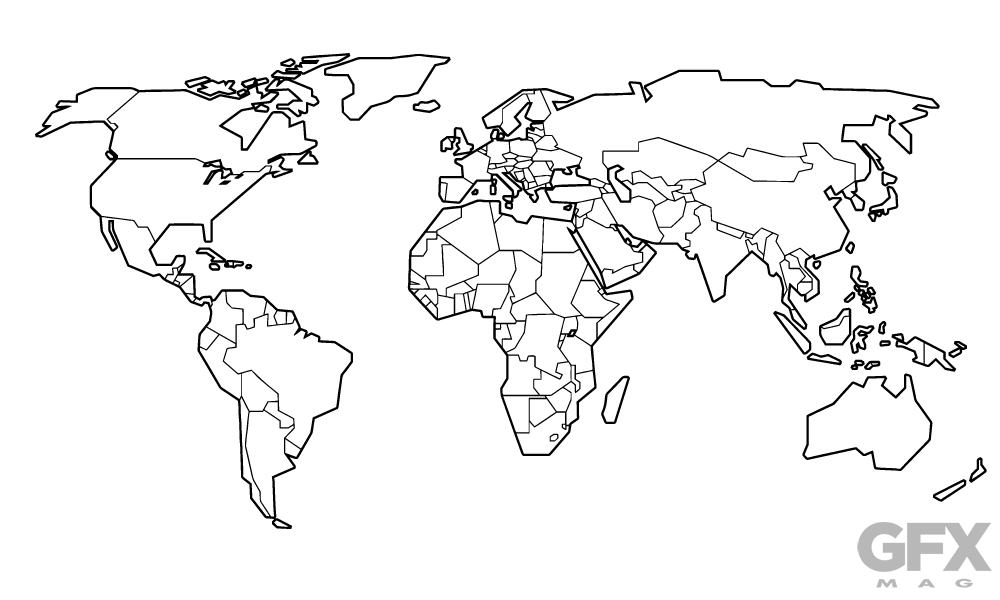 Free Vector Stylised World Map Outline Clip Art.