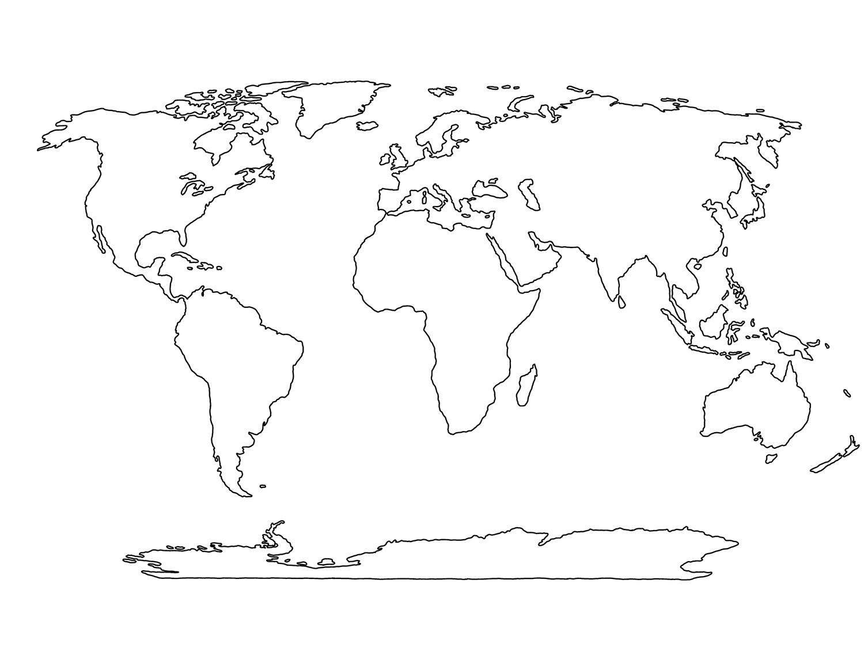 world map stencil clipart #18