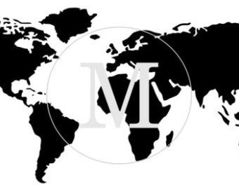 World map stencil.