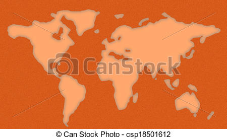 Clipart of World Map Stencil.
