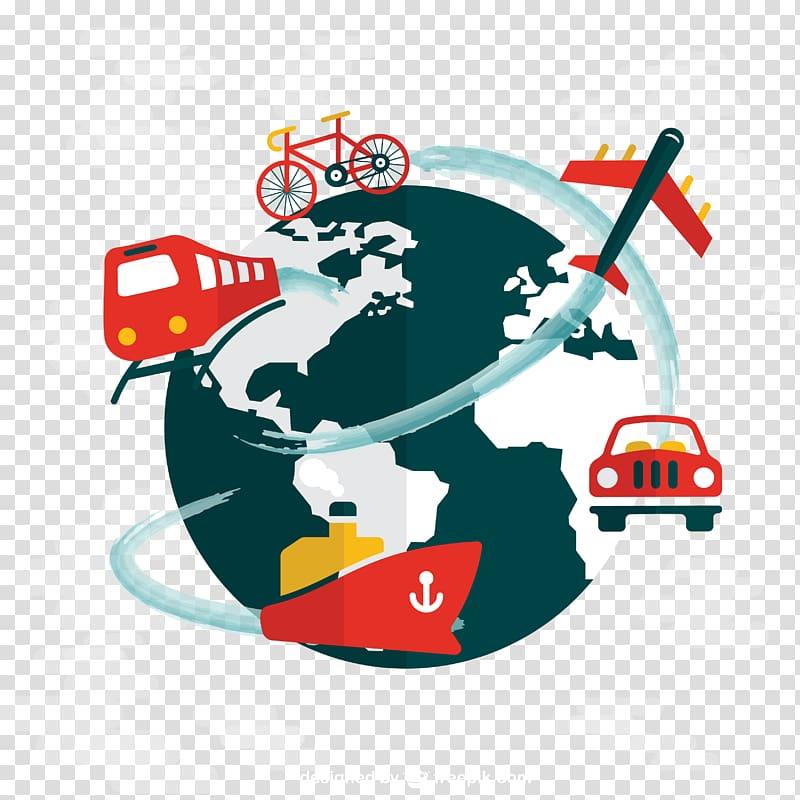 World travel illustration, World map Globe Travel, Global.