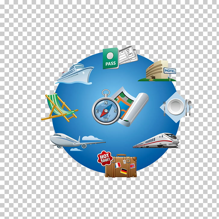 Air travel , Blue World Map PNG clipart.