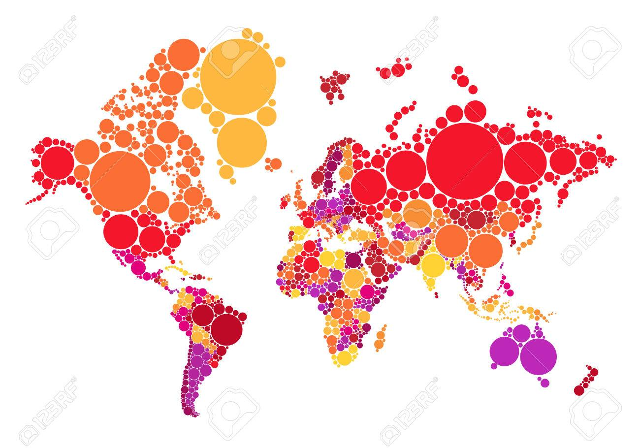 Political abstract dot world map with countries, vector illustration...