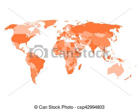 World map with names of sovereign countries and larger dependent territories.