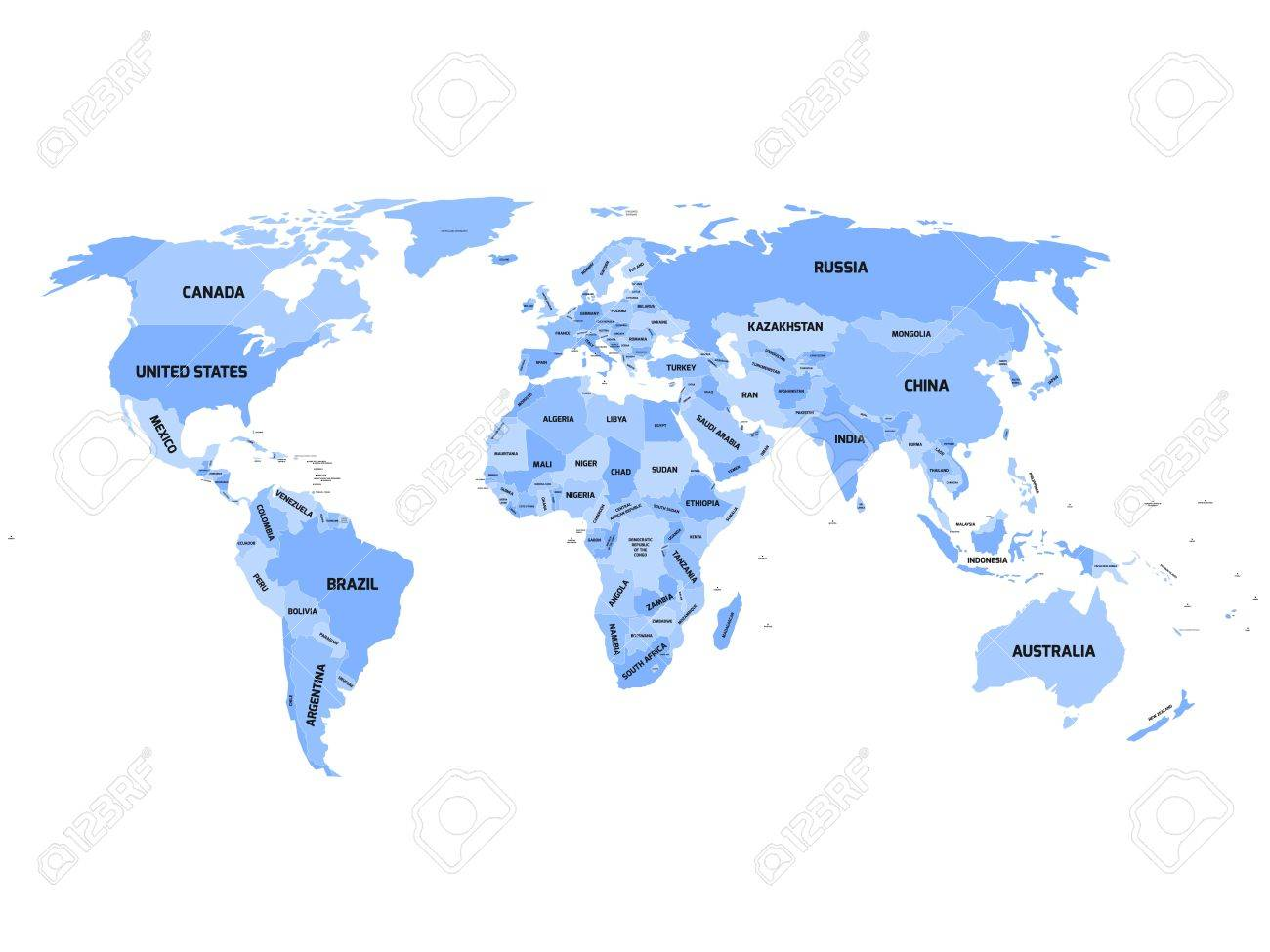 World map with names of sovereign countries and larger dependent...