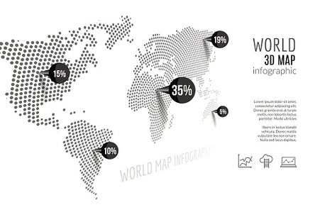 World map infographic. 3D concept with percents and pins.