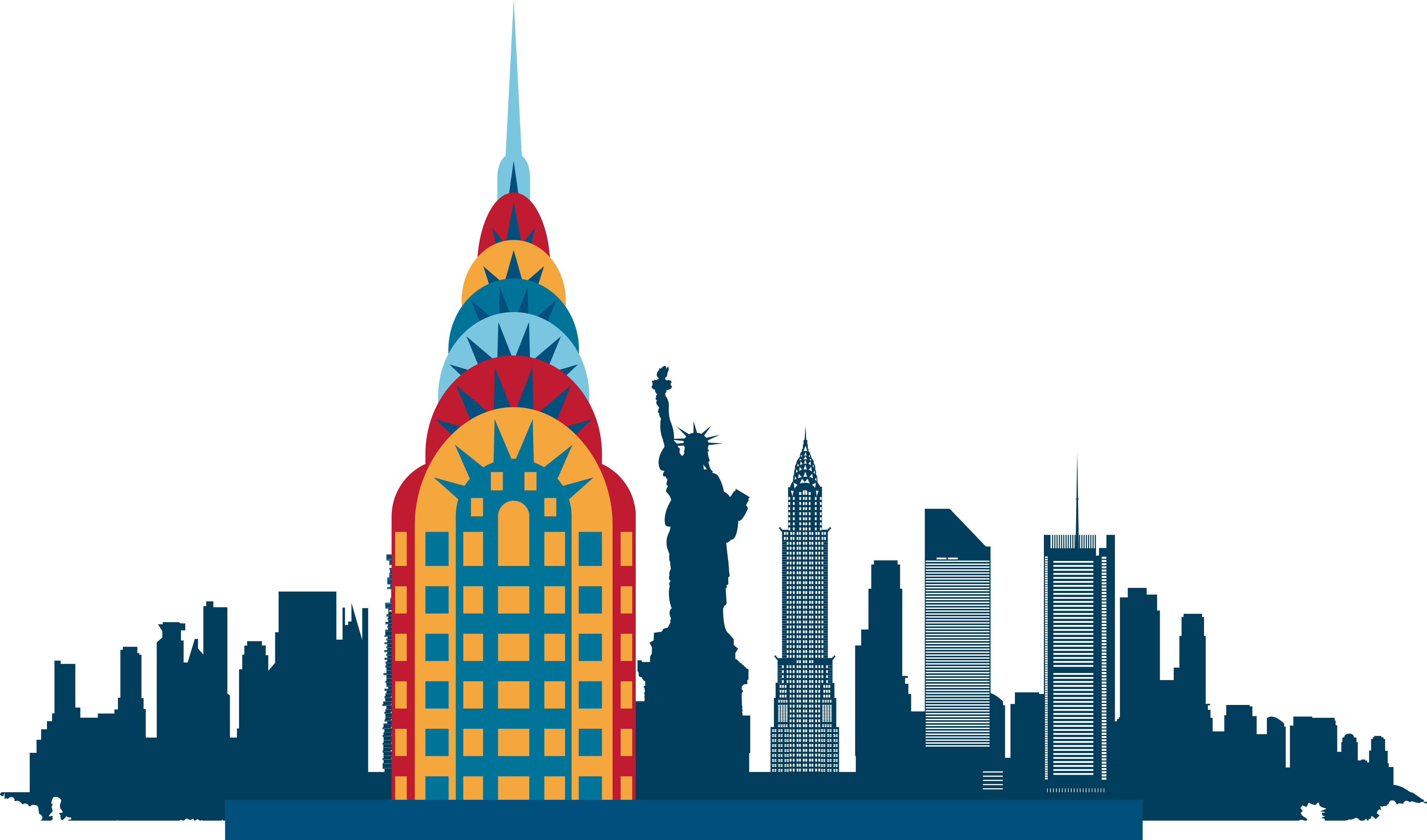 New York City Skyline Silhouette Illustration.