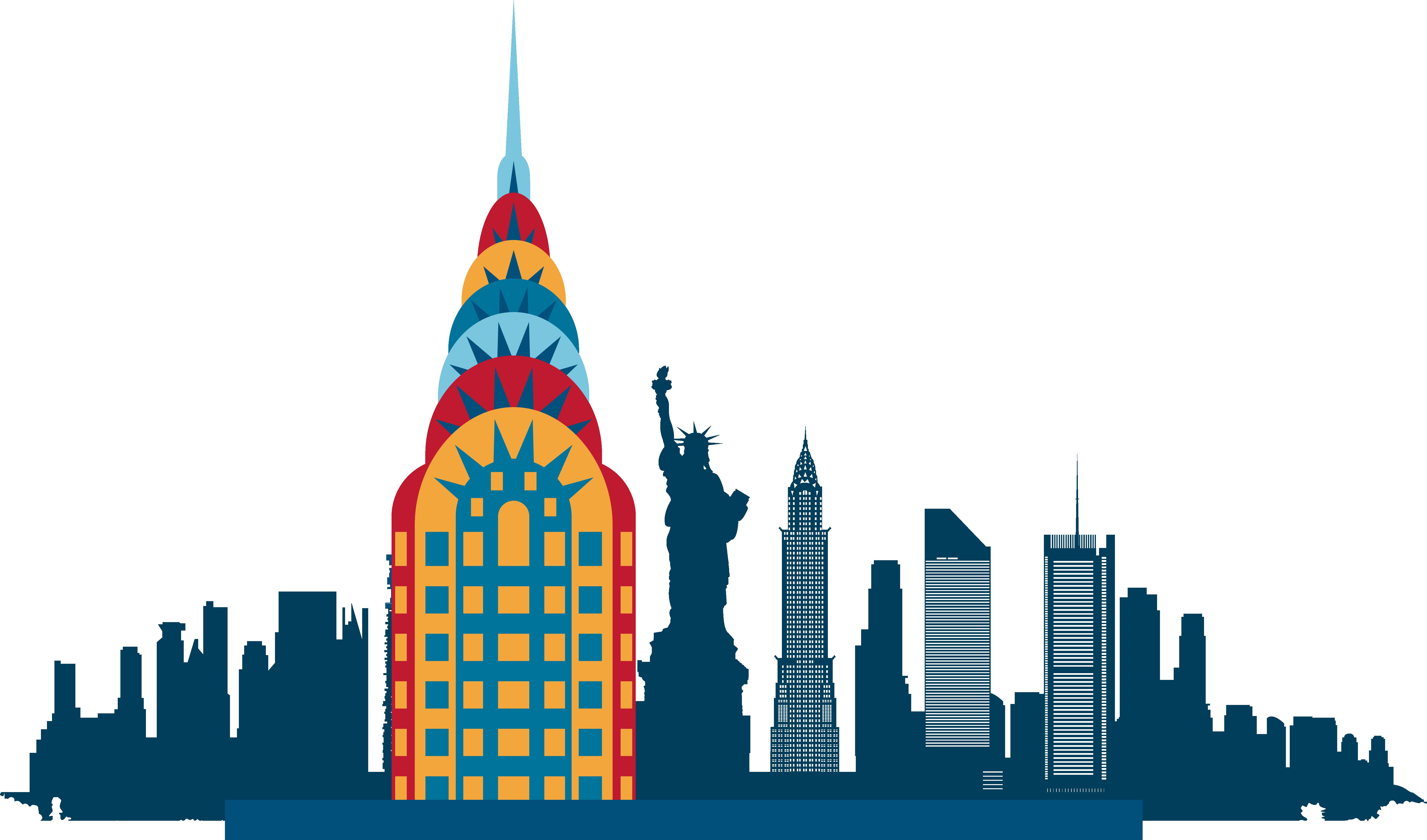 New York City Skyline Silhouette Illustration.