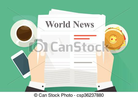 Business Man Hands Holding Newspaper With Vector.