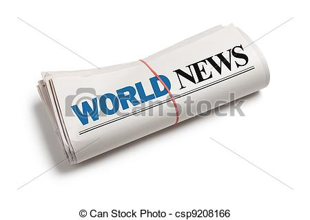 Stock Image of World News, Newspaper roll with white background.