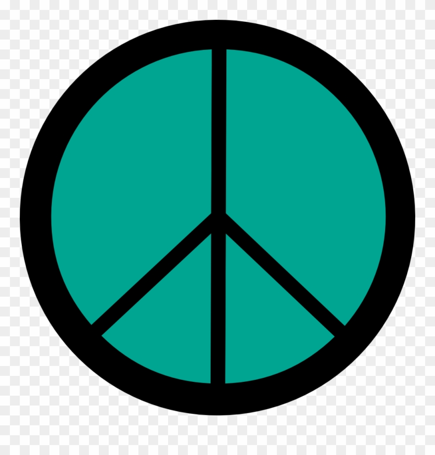 Retro Groovy Peace Symbol Sign Cnd Logo Persian Green.