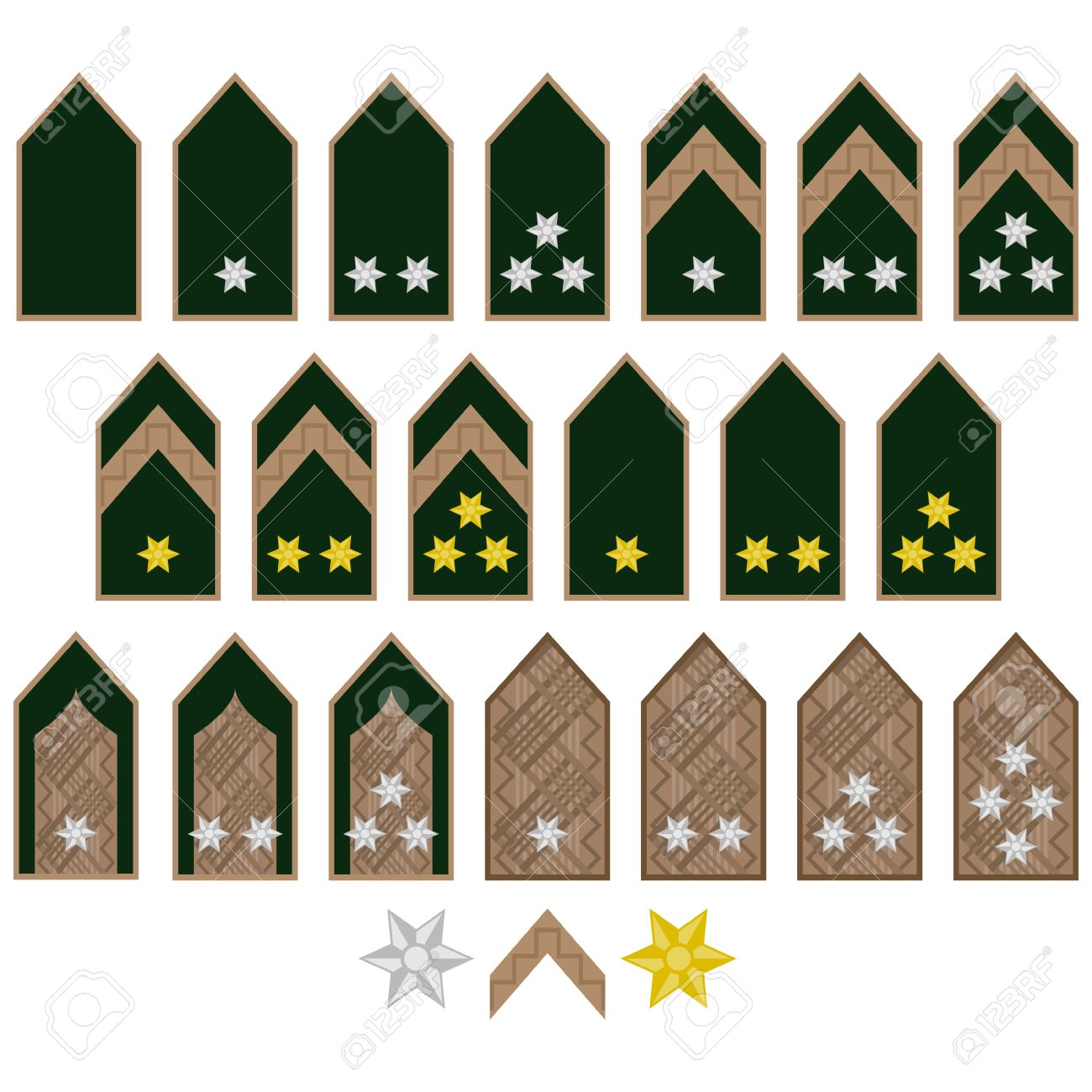 Military Ranks And Insignia Of The World. Illustration On White.
