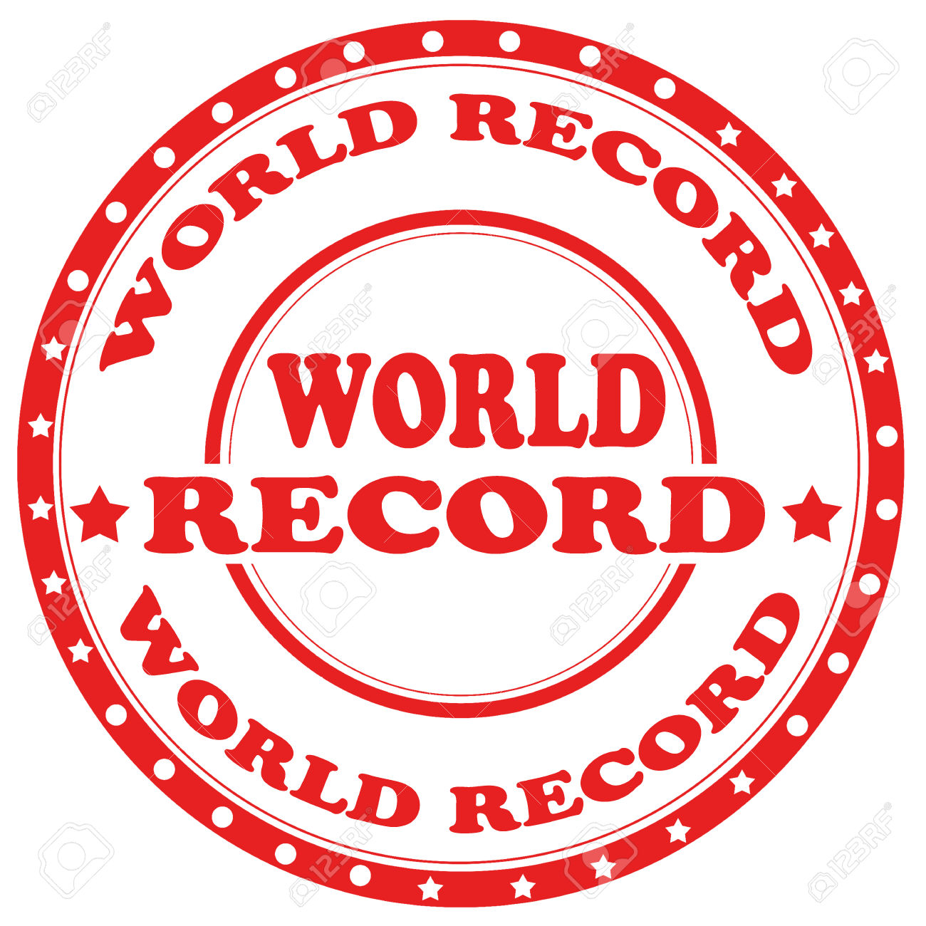Red Stamp With Text World Record,vector Illustration Royalty Free.