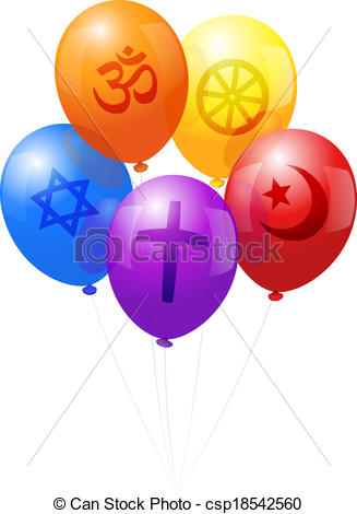 Vector Clip Art of World Religions Flower Symbols.