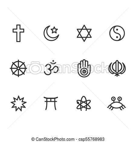Religion symbols icon set.