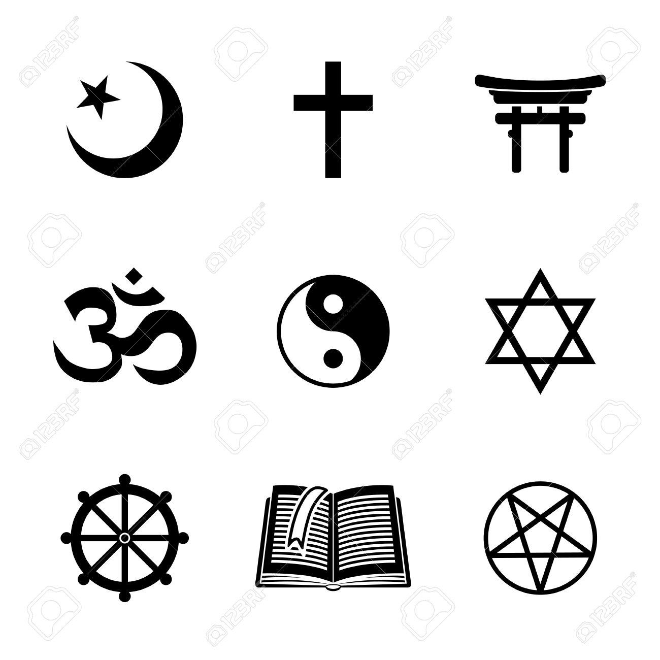 World religion symbols set with.