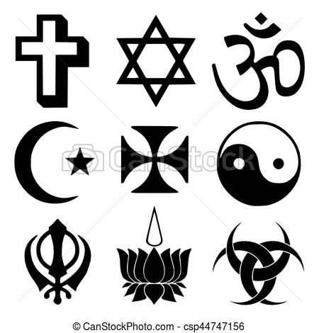 Religious symbols from the top organised faiths of the world according to  Major world religions..