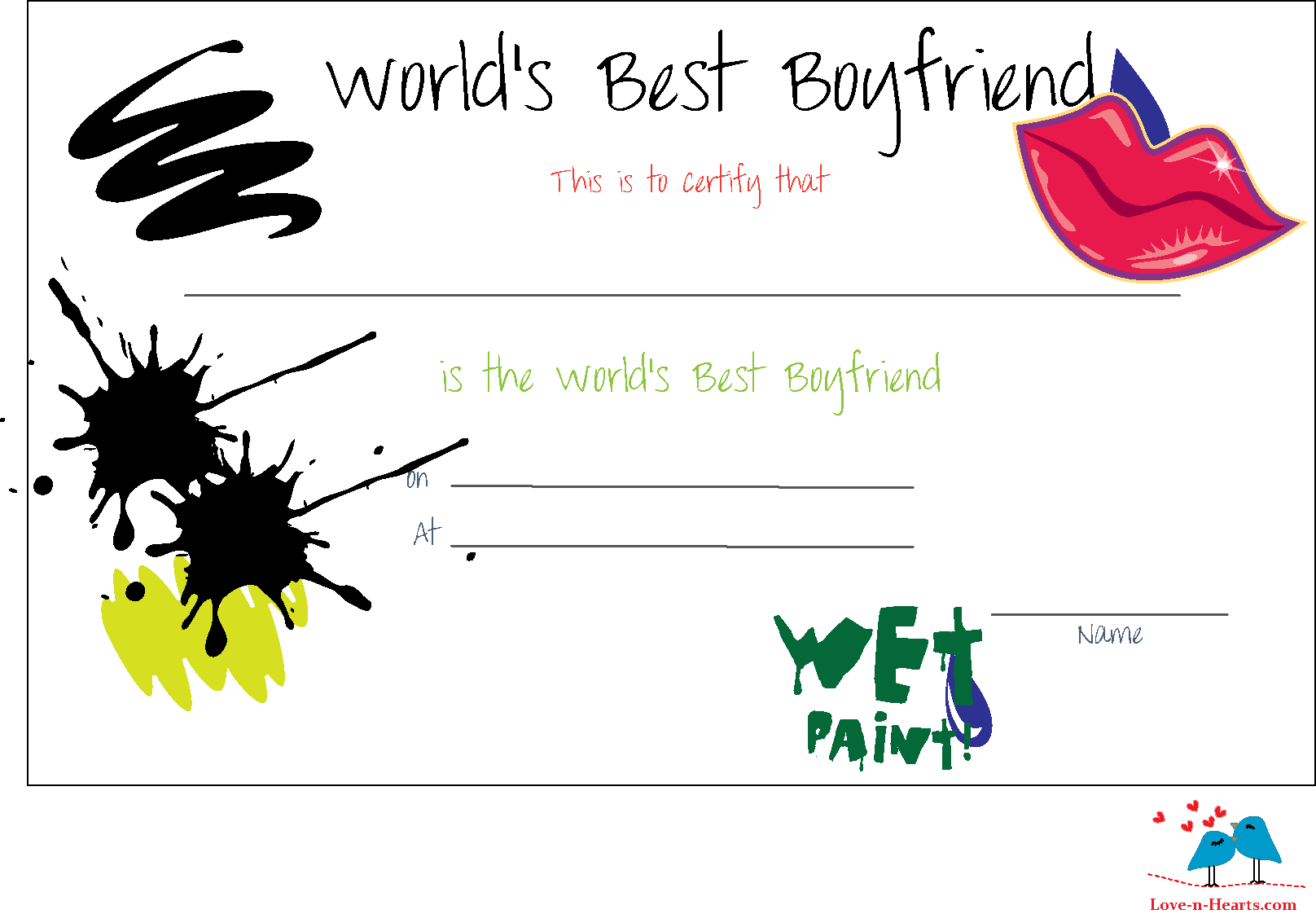 Free Printable Worlds Best Boyfriend Certificates.