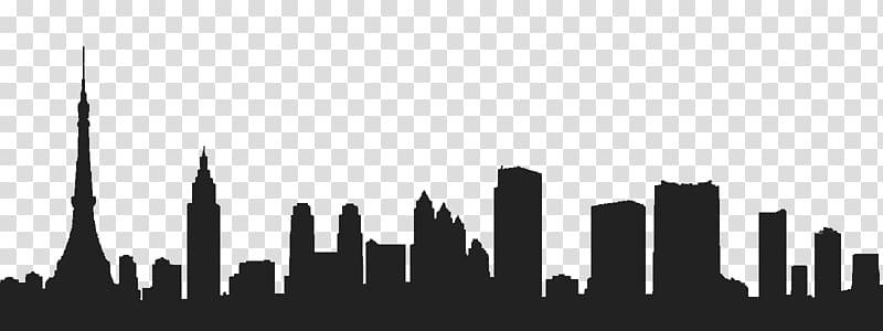 Silhouette of city , Tokyo Skyline , Tokyo transparent.