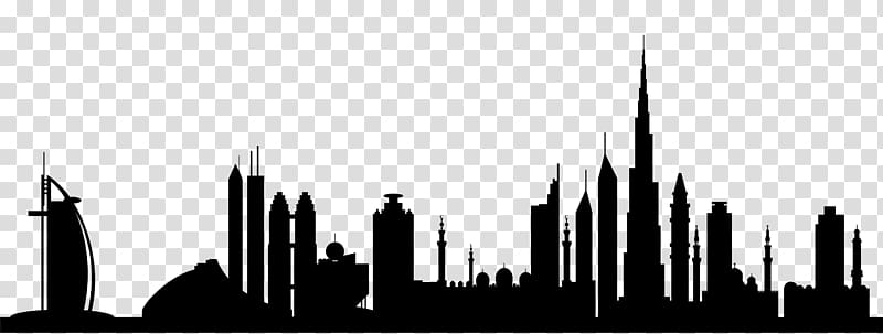 Burj Khalifa Skyline Silhouette , dubai transparent.
