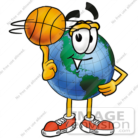 Clip Art Graphic of a World Globe Cartoon Character Spinning a.