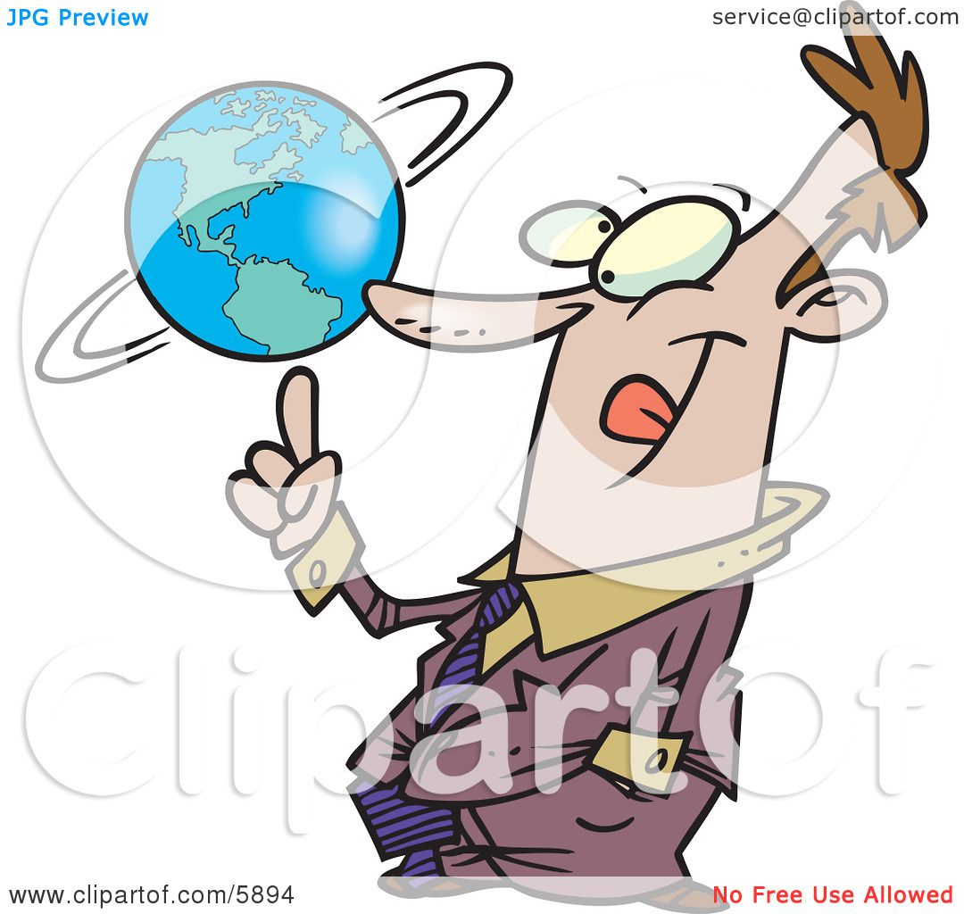 Successful Business Man Spinning the World Globe on His Finger.