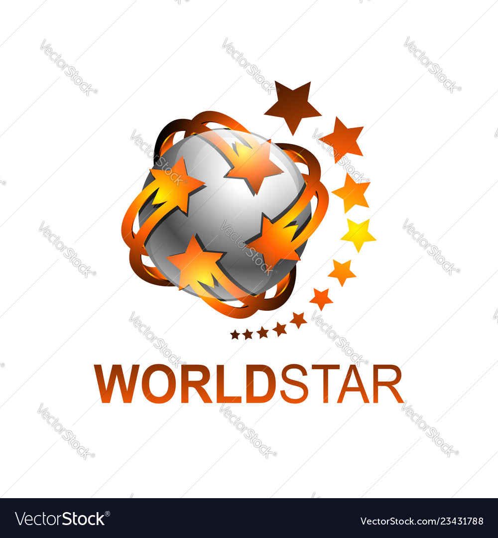 Sphere rotate world star logo template.