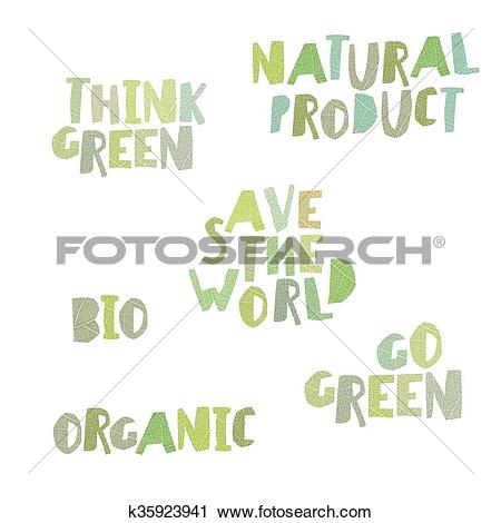 Clipart of Think green, Natural product, save the world, bio.