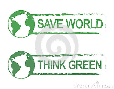 Save World, Think Green Vector Sign With Planet Stock Vector.
