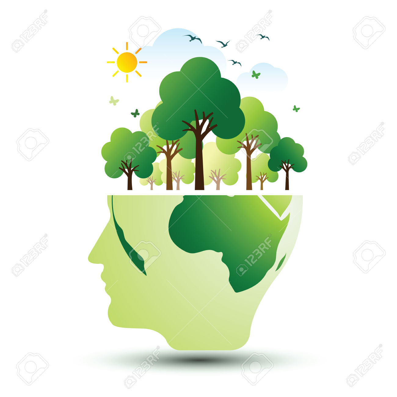 Think Green Ecology Concept. Save World Vector Illustration.