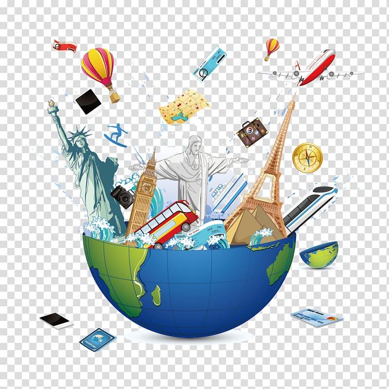 World lanmarks on globe , Travel Euclidean , Global Travel.