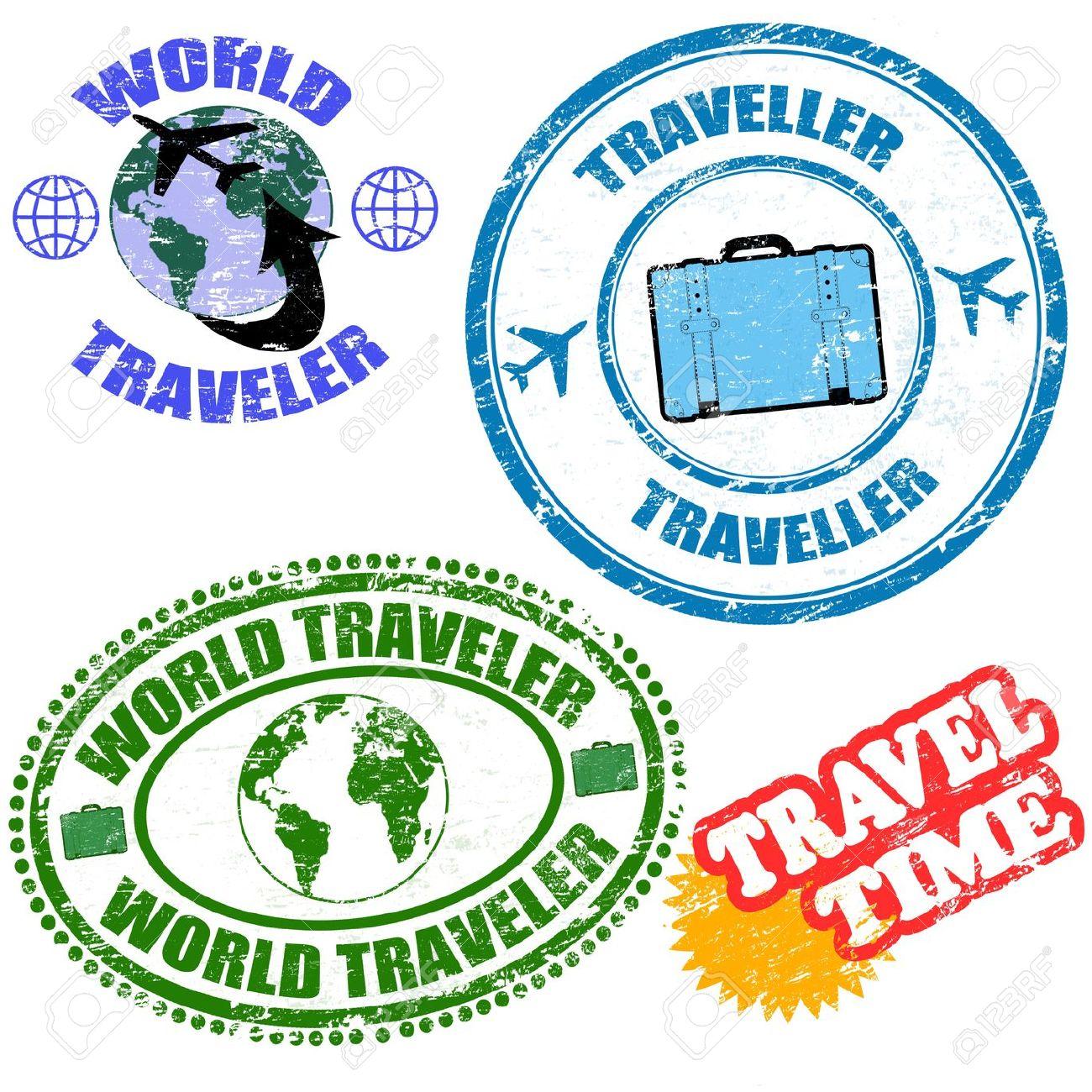 Set Of World Traveler Grunge Rubber Stamps On White, Vector.
