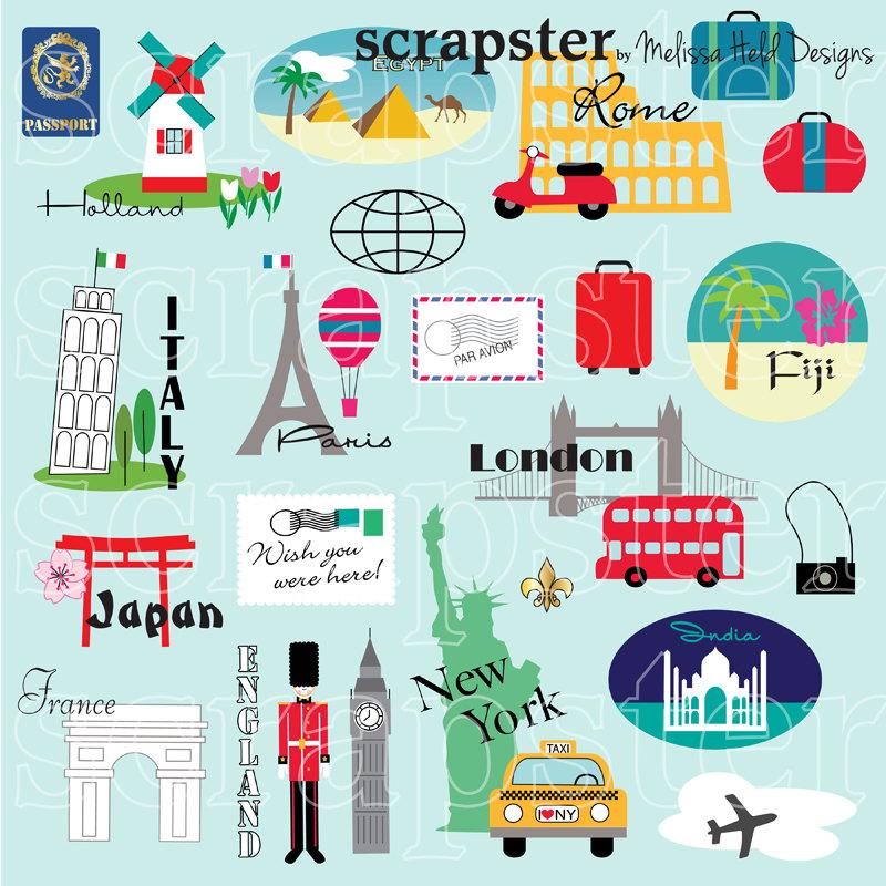 World travel clipart.