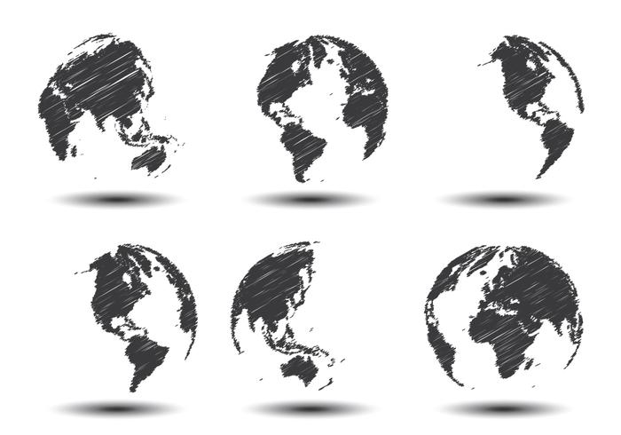 Sketch World Map Vectors.