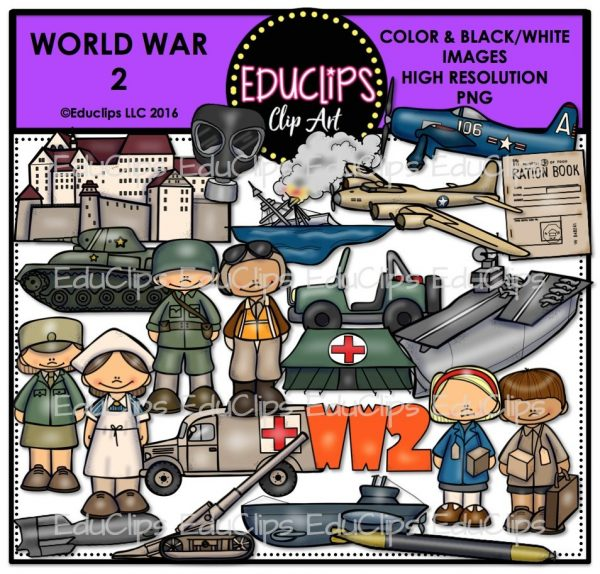 World War 2 Clip Art Bundle (Color and B&W).