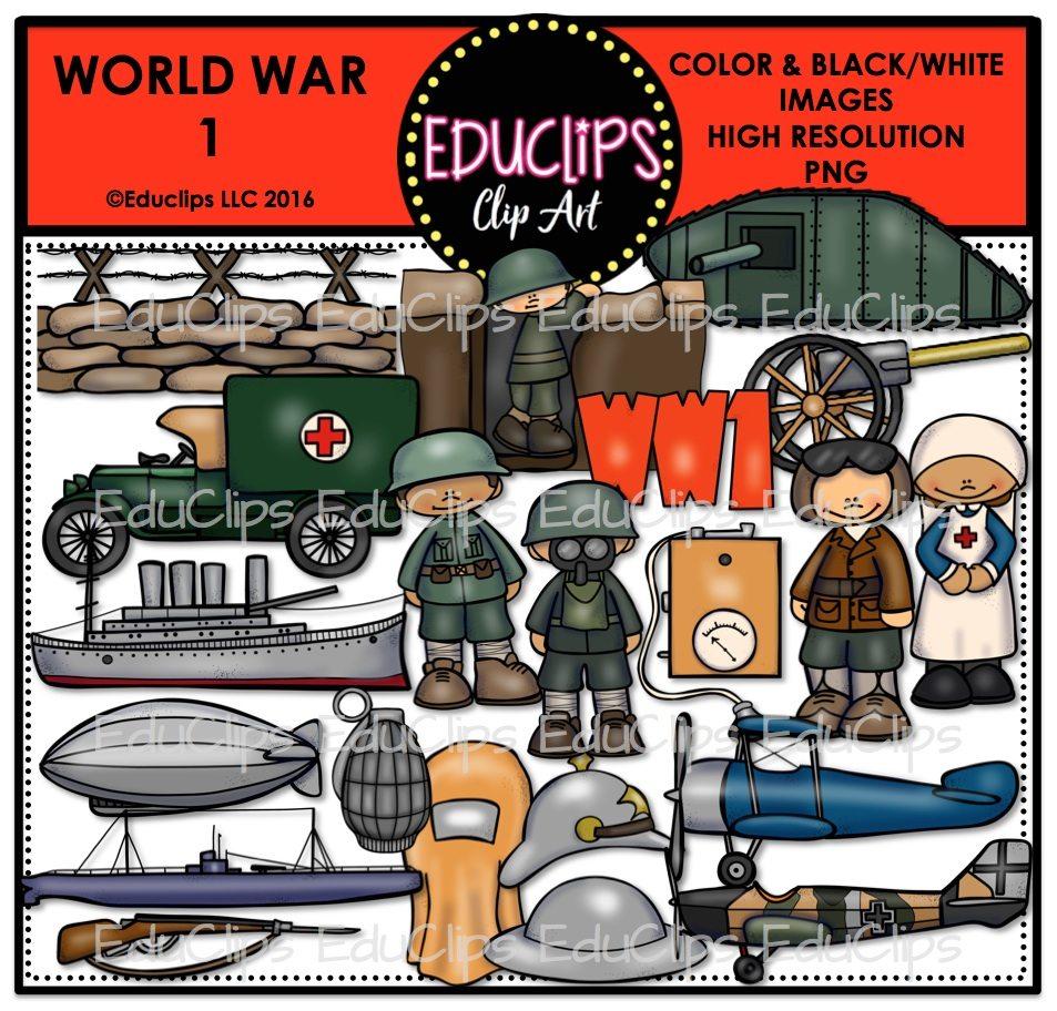 World War 1 Clip Art Bundle (Color and B&W).