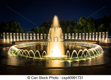Stock Photos of The National World War II Memorial Fountains at.