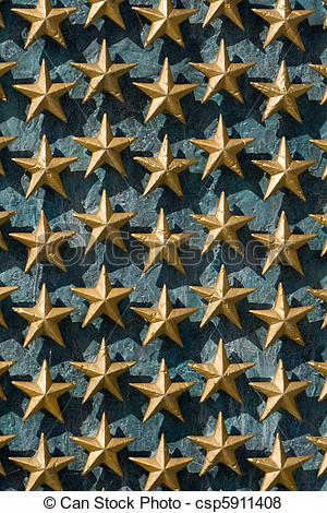 Pictures of Gold Stars on Wall National World War II Memorial.