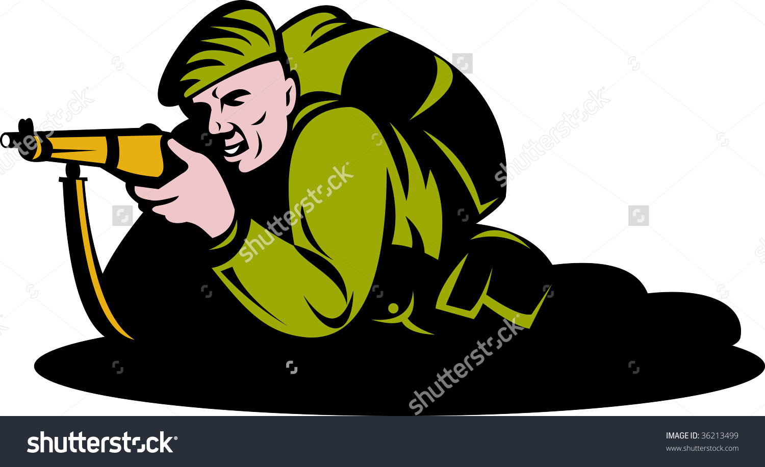World War Two Commando Soldier Aiming A Rifle Stock Photo 36213499.
