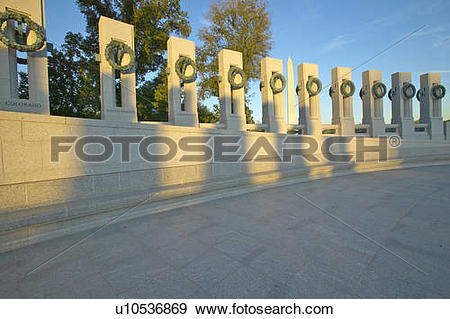 Stock Photograph of Wreaths at the U.S. World War II Memorial.