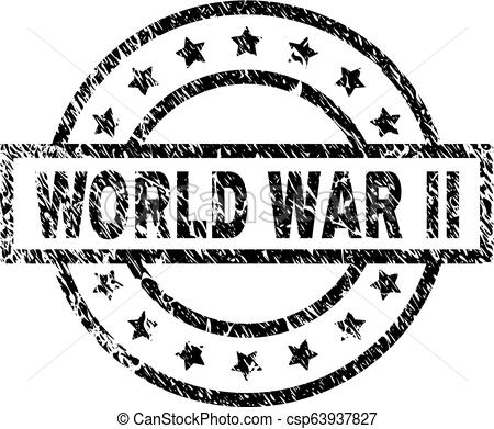 Grunge Textured WORLD WAR II Stamp Seal.